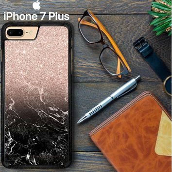 Modern Rose Gold Ombre Black Marble E1399 iPhone 7 Plus Case