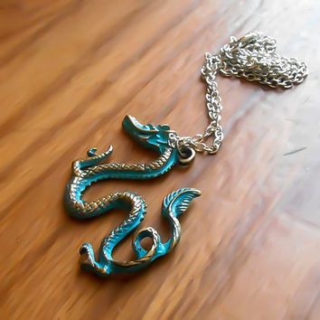Chinese Dragon, Jade Dragon, Dragon Necklace, Green Dragon, Fantasy Dragon, Fantasy Necklace, Fairytale Necklace, Mytholgical Creature