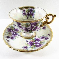 Purple Violets Royal Sealy Tea Cup and Saucer