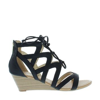 Lace Up Low Wedge Sandal