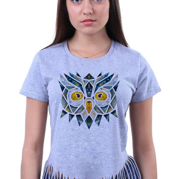 Cute Colorful Geometric Owl Face Head Print Tribal Triangle Animal Crop Top Fringe T-shirt
