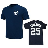 Majestic MLB New York Yankees Mark Teixeira Navy Name and Number Tee - Large
