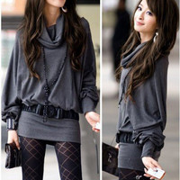 Stylish and Sweet Cowl Necked Buttocks Tight Long Blouse China Wholesale - Everbuying.com