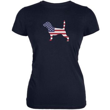 DCCKJY1 4th of July Patriotic Dog Beagle Navy Juniors Soft T-Shirt