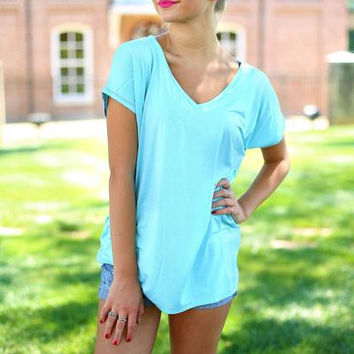 Piko V-neck top wide sleeve Limpett shell