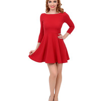 Wine Red Three-Quarter Sleeve Skater Flare Dress