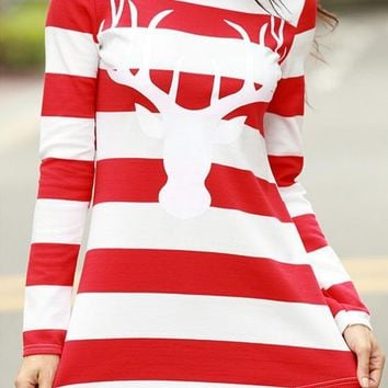 Red-White Striped Deer Print Long Sleeve Round Neck Casual Christmas T-Shirt