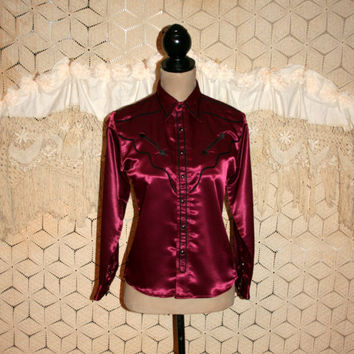 Womens Western Shirt Wrangler Wine Red Burgundy Satin Snaps Petite Clothing Black Trim Arrow Vintage Western Clothing Medium Womens Clothing