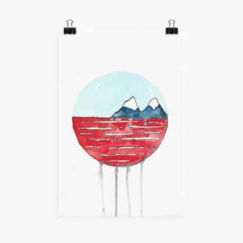 Water is a Watercolor style illustration Giclee Print - Original Gouache Painting of a red ocean with snow capped mountains in the distance.