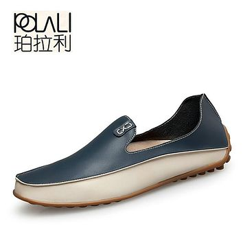 POLALI Men Casual Flats Fashion Genuine Leather Soft Moccasins Brand Loafers High Quality Breathable Men Shoes Plus Size 36-47