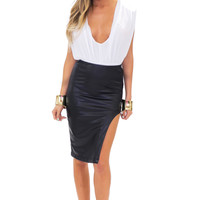 MAYA VEGAN LEATHER SKIRT