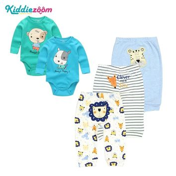 Newborn Baby Clothing Sets New Baby Playsuit Boy/Girl Clothes Set Cotton Long Sleeves Babywear Bodyysuit+Pants Infant Wearing