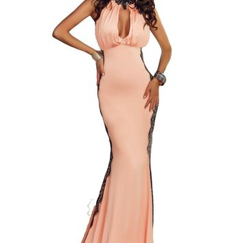 Chicloth Pink Peekaboo Halterneck Lace Trim Party Gown