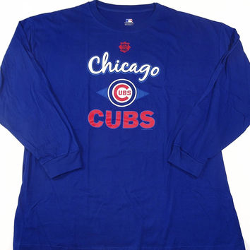 Chicago Cubs Long Sleeve T Shirt Big and Tall Sizes w/ Priority Shipping