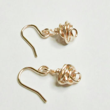 Love Knot Rose Rose Gold Dangle Earrings Handmade