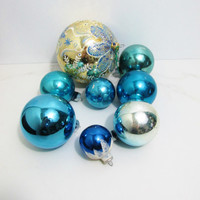 Vintage Christmas Ornaments: Collection of Blue, 8 Ornaments