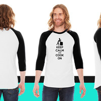Keep Calm And Cook On American Apparel Unisex 3/4 Sleeve T-Shirt