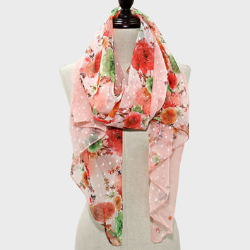 Rose Flower Blossom Spring Scarf | Red Pink Peach Green