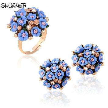 SHUANGR Engagement Ring for Women Wedding Zircon Gold Color zircon Crystal Rings for Women Colorful Flower Adjustable Ring