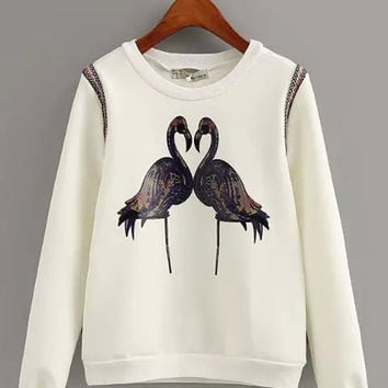Couple Crane Print with Shoulder Embroidery Sweatshirt