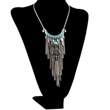 PEAPIX3 Bohemian style silver plated alloy moon shape rhinestone blue beads tassel necklace (Color: Silver)