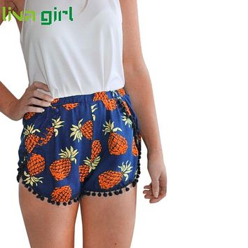 Tassels Shorts Women 2017 Fashion Pineapple Print Navy Blue Shorts Summer Beach Casual Laisure Elastic Shorts MA242