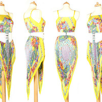Vintage Summer Dress - 90's - Yellow Paisley - Beach Cover Up