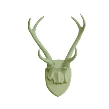 Antler Wall Mount | Deer Antler Rack | Faux Taxidermy | Sage Green Resin