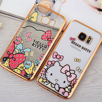 For Samsung Galaxy S7 Case Luxury Girl Love Hello Kitty Pattern Electroplating Flexible Phone Cover for Samsung S7 Edge 8 Design