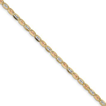 14K Rhodium Plated Yellow Gold 3.8mm Tri-color Pav� Valentino Chain Bracelet 8 Inch
