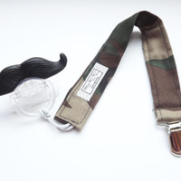 Baby Mustache Pacifier with Camo Pacifier Clip Set for Boy