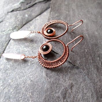 Black Onyx and Rose Quartz Earrings, Wire Wrap Copper Moon Goddess French Hook Earrings, Dangle Gemstone Earrings, Wire Weaved UK Jewelry