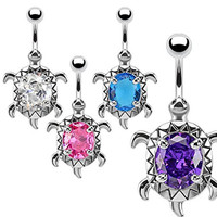Surgical Steel Large CZ Turtle Navel Ring Available in 4 Colors (Blue)