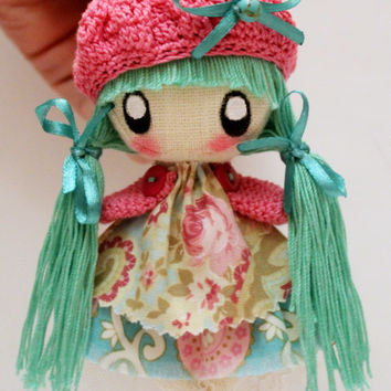 Textile brooch doll mint and pink Mimi  jewelry for girl and women