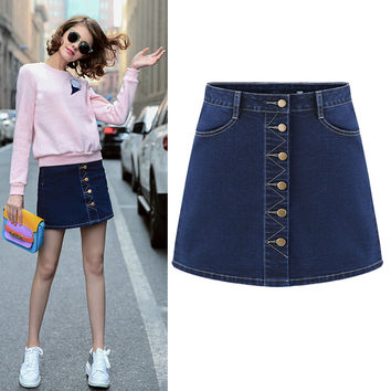 2016 Spring Summer Latest Fashion Single Collar Buckle Slim Design Women Jeans Skirt