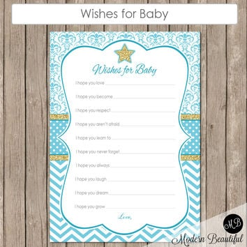 Wishes for Baby Star in Blue Damask and Stripe-  Twinkle Twinkle Little Star Baby Shower - Baby Boy Blue - Baby Well Wishes - blue INSTANT