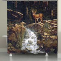 Deer Above the Falls Shower Curtain
