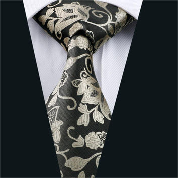 Men Tie Metallic Floral NeckTie Silk Jacquard Ties For Men Business Wedding Party