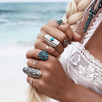 Vintage Boho Tribal Ethnic Turquoise Ring Hippie Gothic Punk Ring Set 9PCS