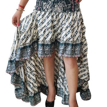 Vintage Recycled Sari Full Flare Tiered Flirty Printed Summer Fashion Hi Low Long Skirt S/M