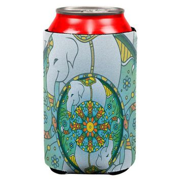 LMFCY8 Mandala Trippy Stained Glass Elephant Can Cooler