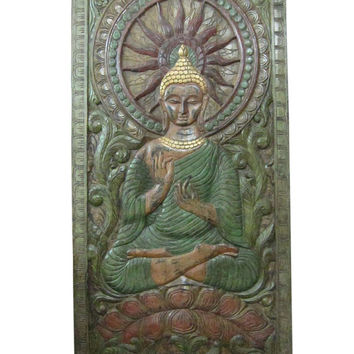 "Indian Wall Panel Buddha in Dharma Chakra Mudra Hand Carved Door 72"" X 36"""