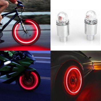 2pcs LED Tire Valve Stem Caps Neon Light Auto Accessories Bike Bicycle Car Auto Waterproof Youthful Cycling Exercise Flashlight