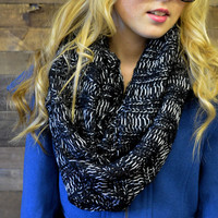 Tangled Up Black Glitter Knit Infinity Scarf