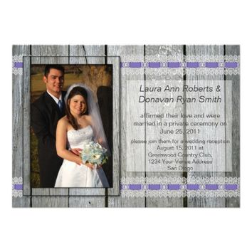 Rustic Barn Wood Purple Ribbons Lace Post Wedding Invitation from Zazzle.com
