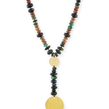 NEST Jewelry Beaded Y-Drop Medallion Necklace