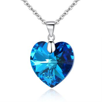 925 Sterling Silver Heart of Ocean Titanic Inspired Pendant Necklace Made with Swarovski Crystals
