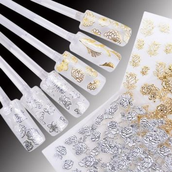 24 Sheets High Quality 3D Golden/Silver Edged Nail Art Stickers Decals Decoration Hot Stamping