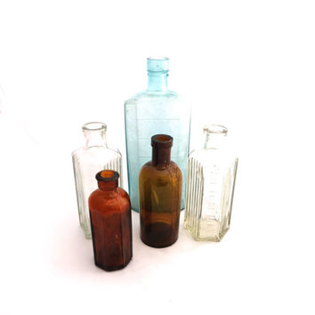 Apothecary Bottle Set, Victorian Apothecary Bottles, Glass Poison Bottle, Antique Bottle Collection, Medicine Bottle,  Apothecary Set