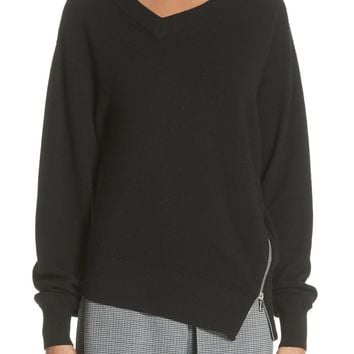 Alexander Wang Asymmetrical Side Zip Wool & Cashmere Blend Sweater | Nordstrom